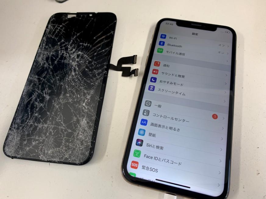 画面パーツ交換修理後のiPhoneXS