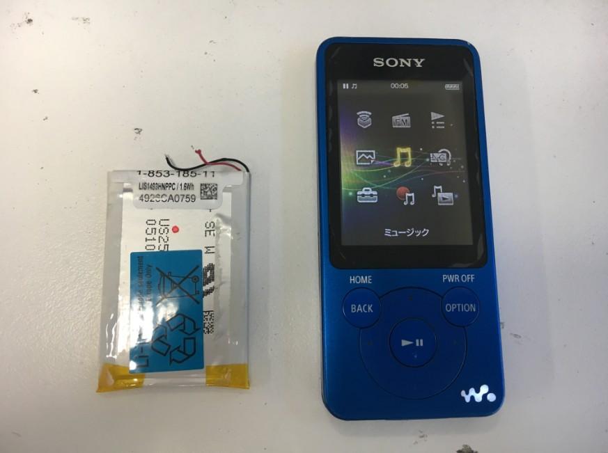 内蔵バッテリー交換修理後のWALKMAN NW-E083