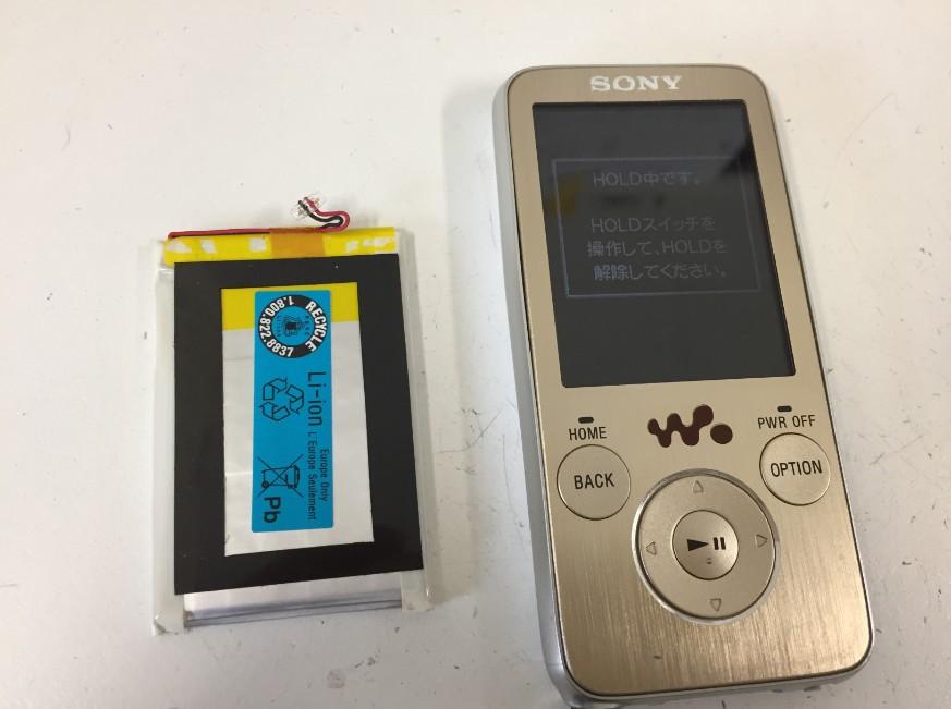 バッテリー新品交換後のNW-S739F
