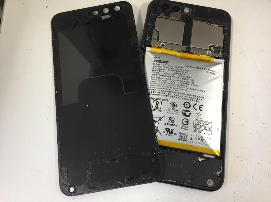 背面ガラスを剥がしたZenfone4(ZE554KL)