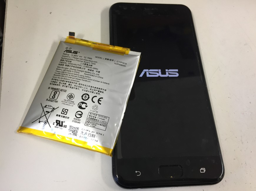 バッテリー交換修理後のZenfone4(ZE554KL)