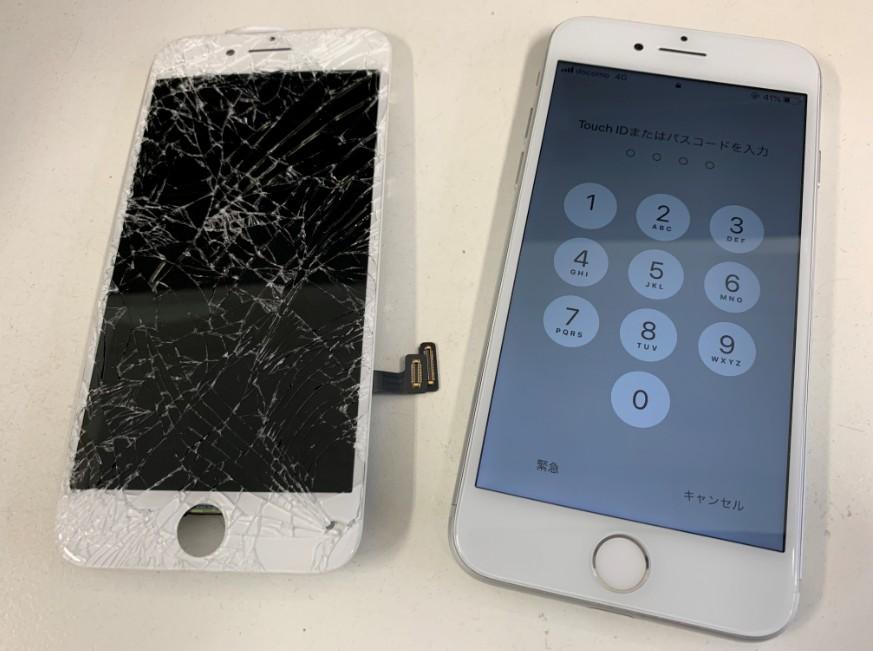 画面パーツ交換修理後のiPhone7