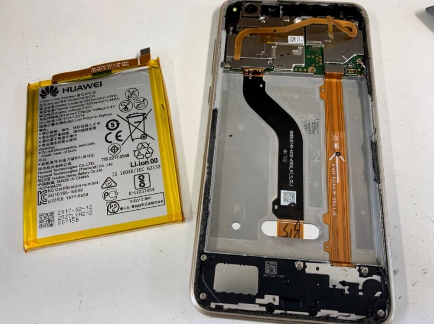 本体から古いバッテリーを取り出したnova lite