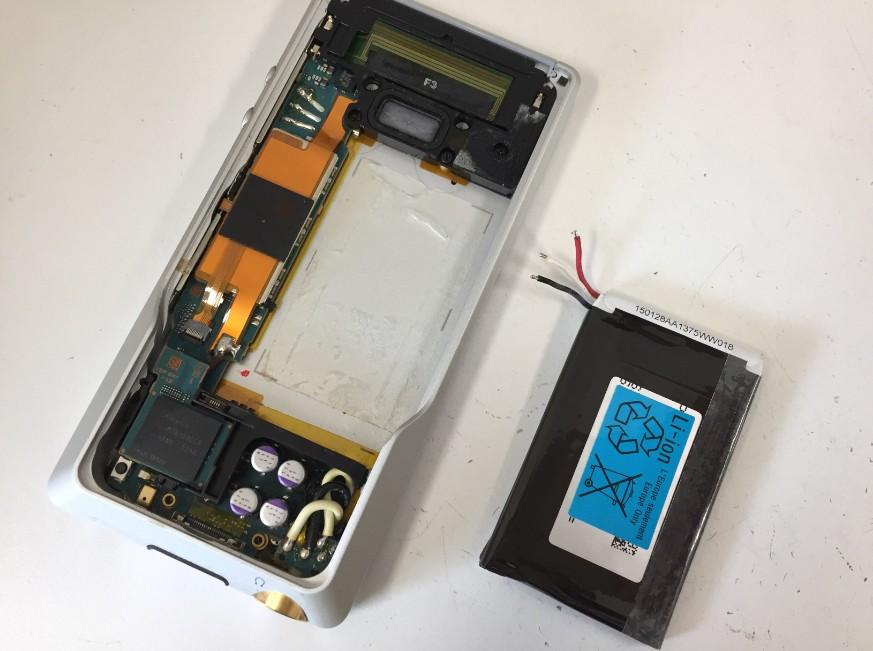 バッテリーを取り出したウォークマン NW-ZX1