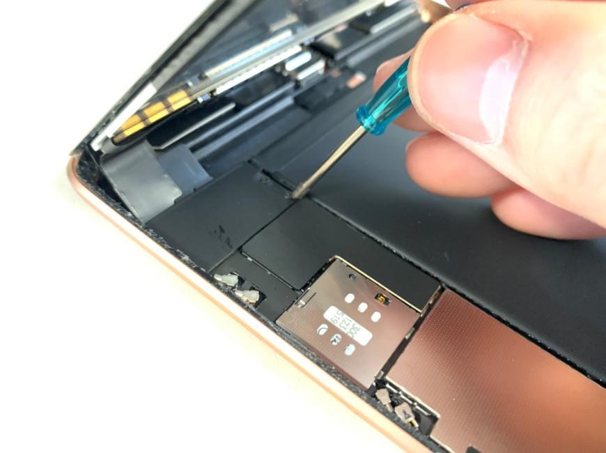 画面コネクタを止めたプレートを外しているiPad mini5