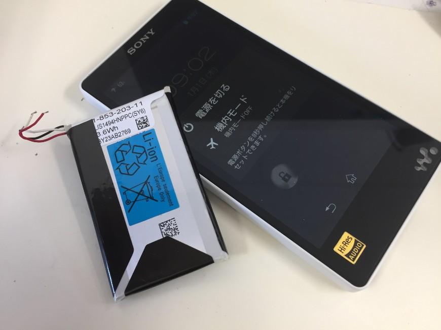 バッテリー新品交換後のWALKMAN NW-F887