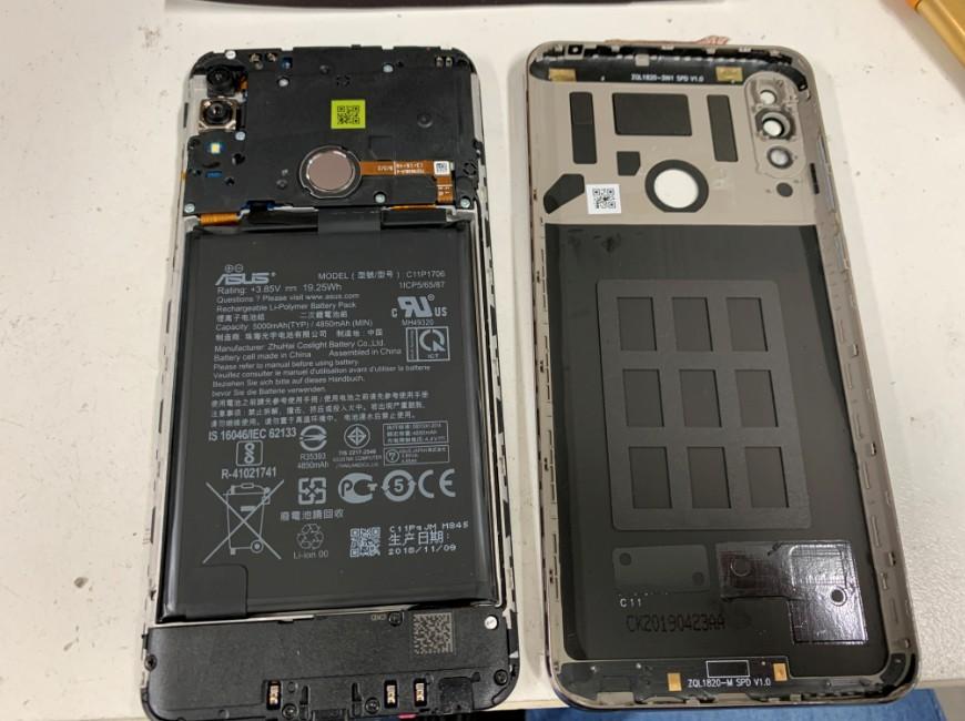 フレームから本体を取り出したZenfone Max Pro M2(X01DBA)