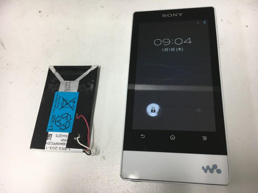 バッテリー新品交換後のウォークマン NW-F805