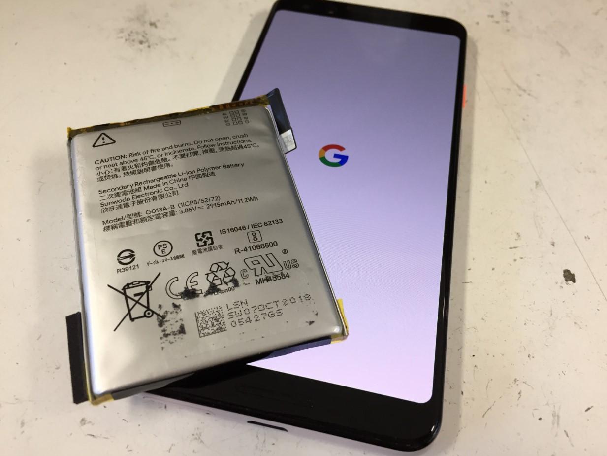 バッテリー新品交換修理後のPixel3