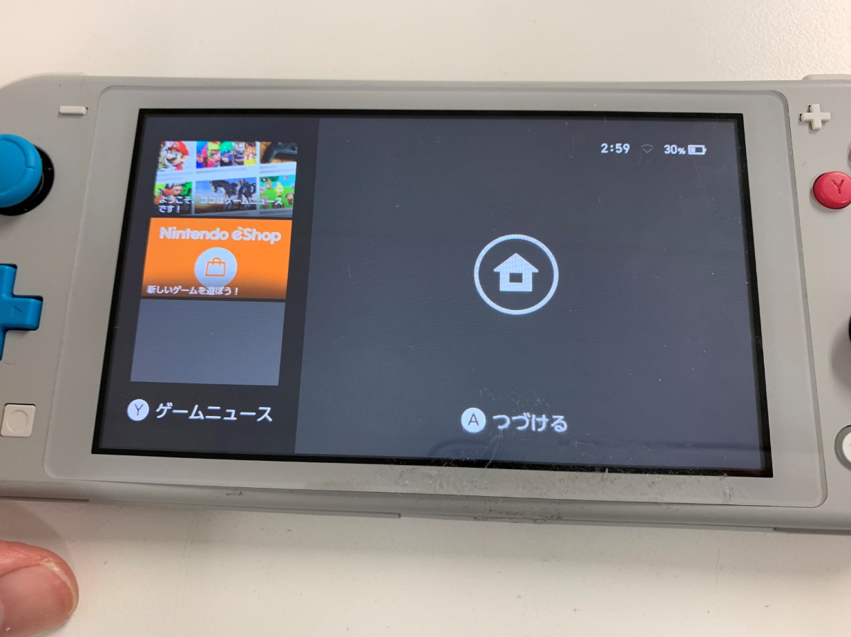 基板修理することでオレンジスクリーンが改善したSwitch Lite
