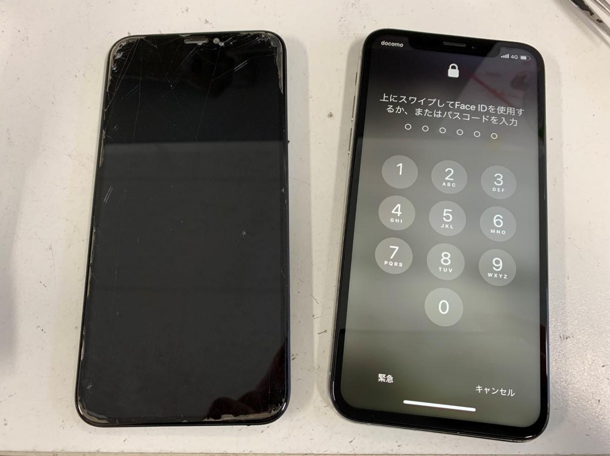 画面新品交換後のiPhoneXs