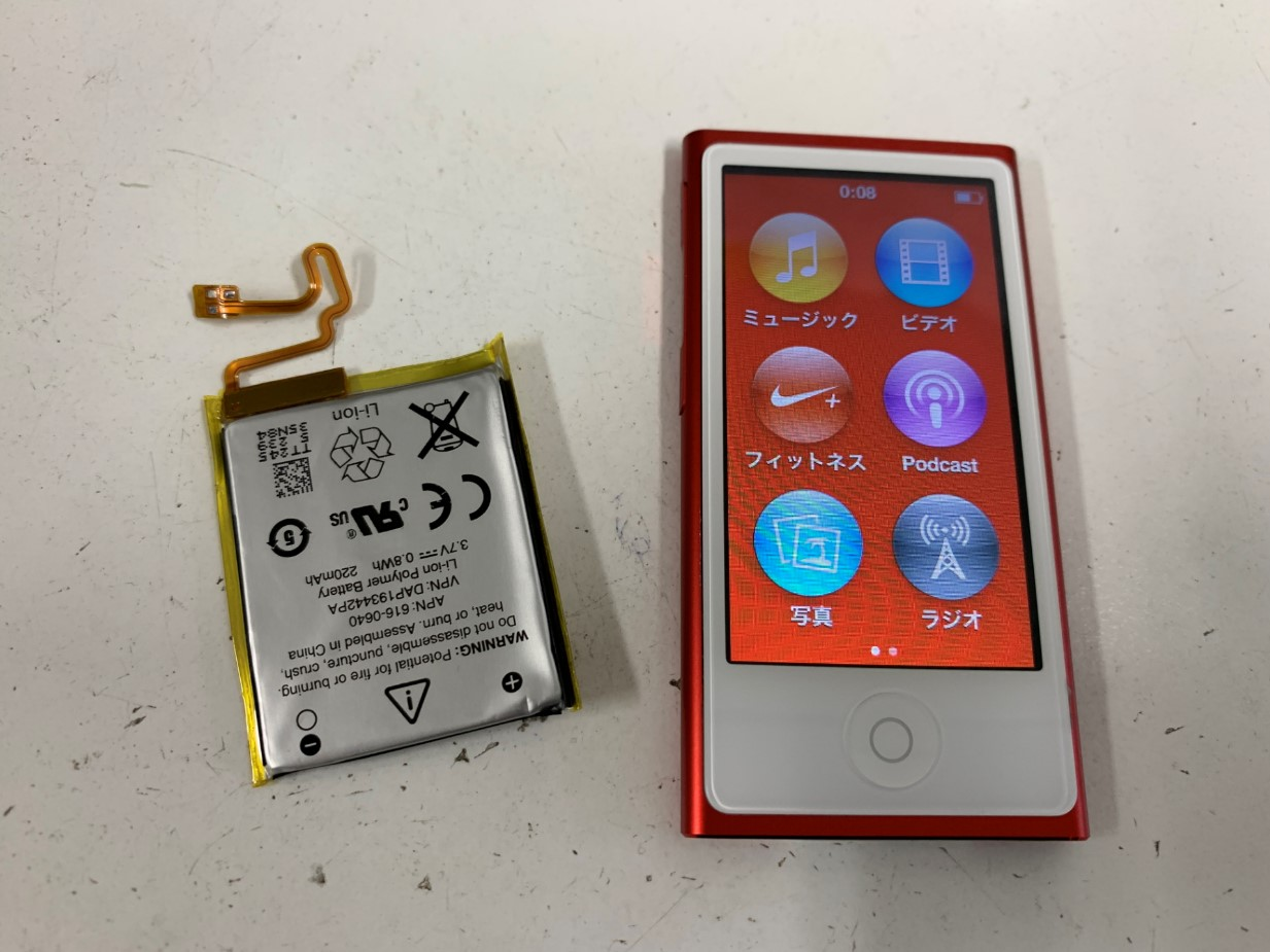 バッテリー新品交換後のiPod nano 7