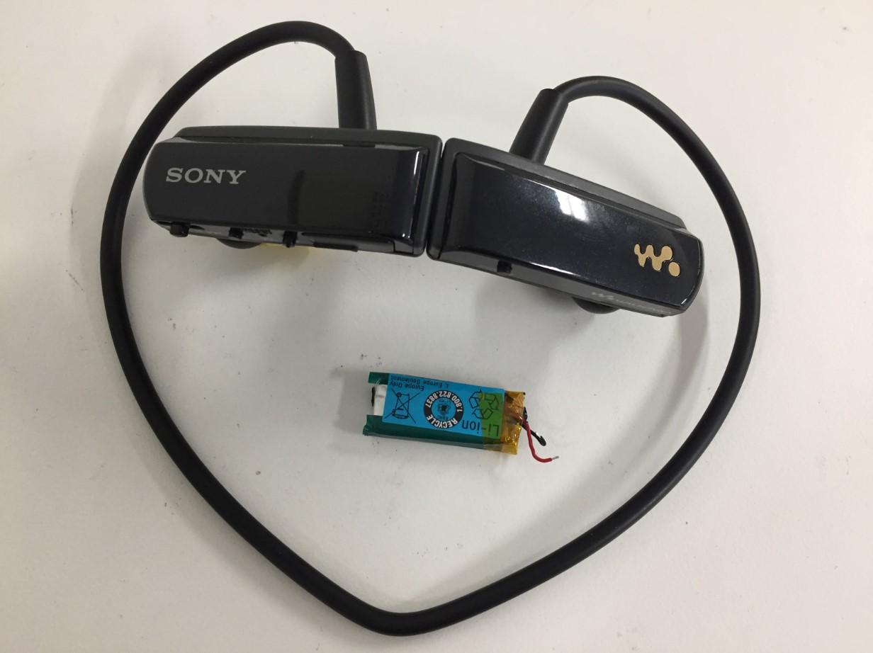 バッテリー新品交換修理後のウォークマン NWD-W253