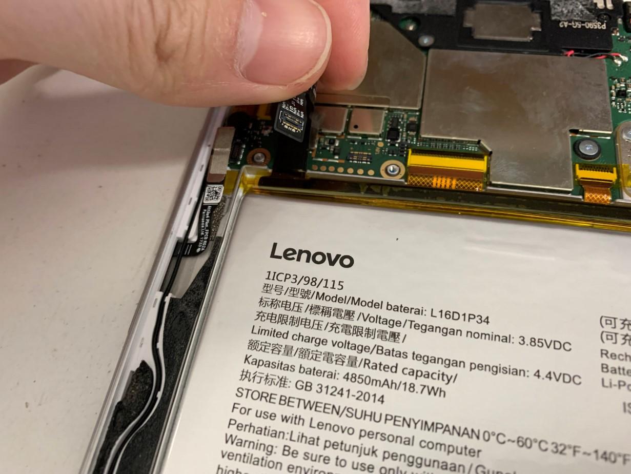 バッテリーコネクタを抜いたLenovo Tab4 8Plus