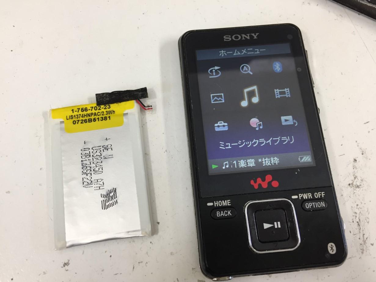 バッテリー新品交換修理後のWALKMAN NW-A828