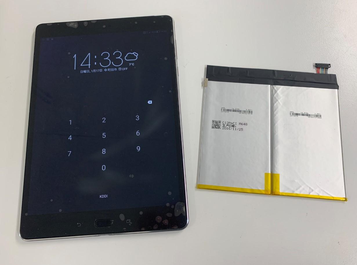 バッテリー新品交換修理後のZenPad 3S 10(Z500KL)