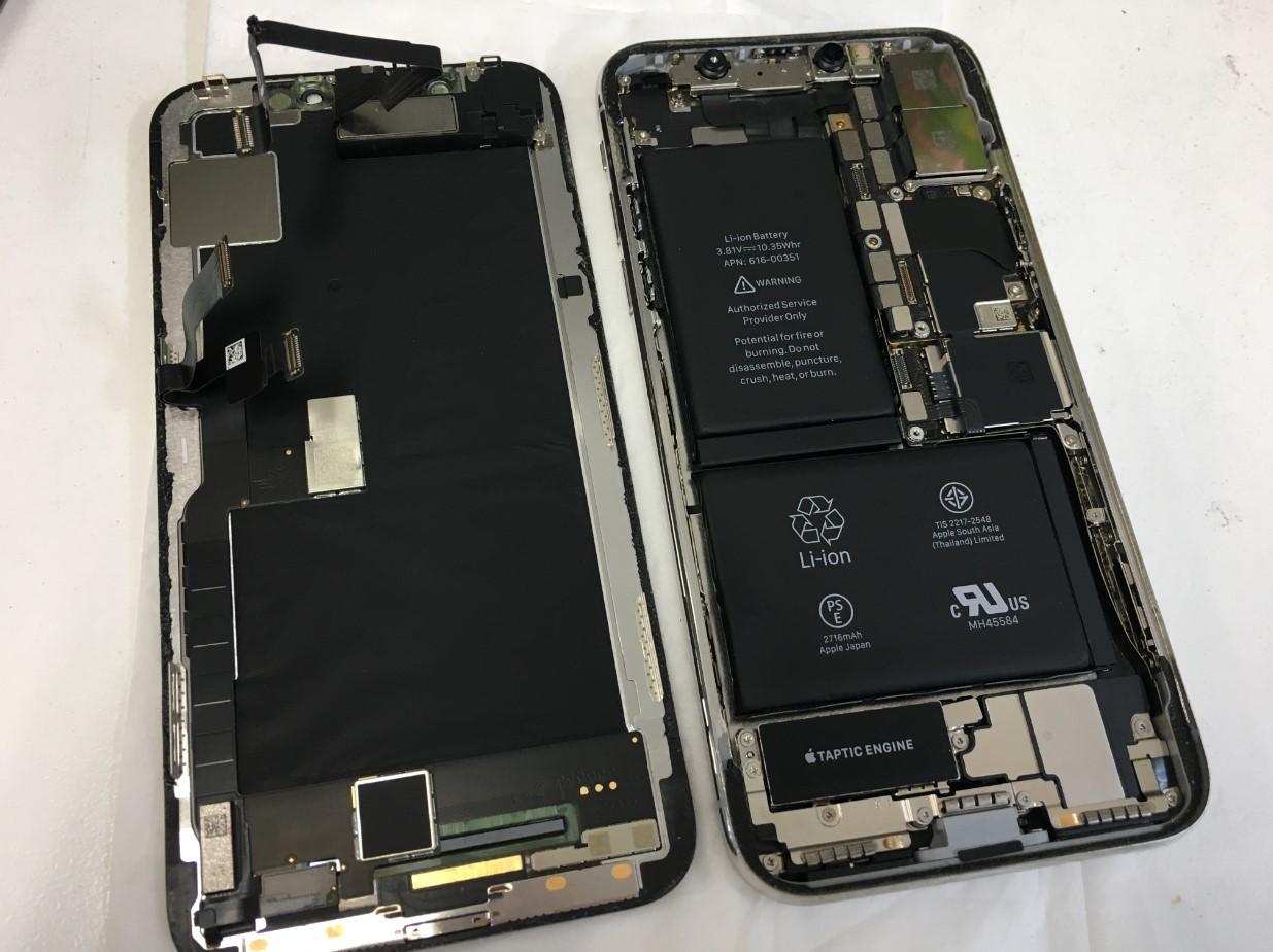 本体から画面パーツを取り出したiPhoneX