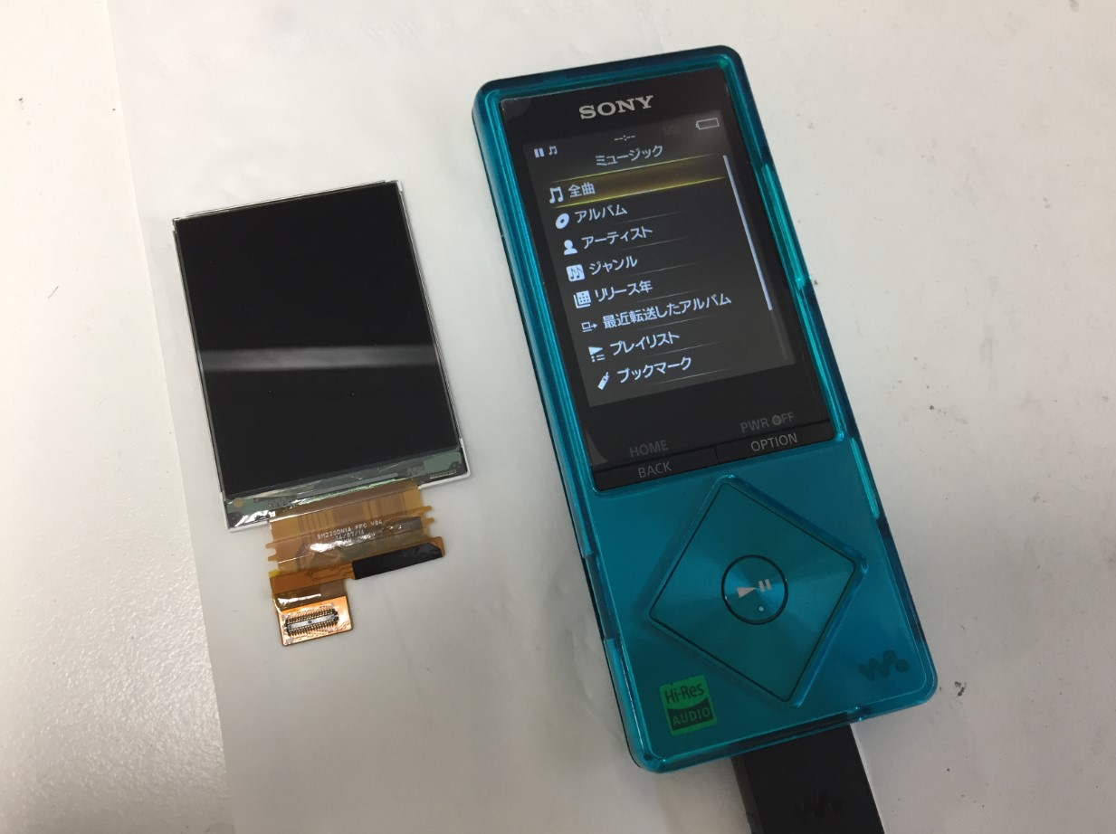 液晶画面交換で表示されるよう改善したウォークマン NW-A16