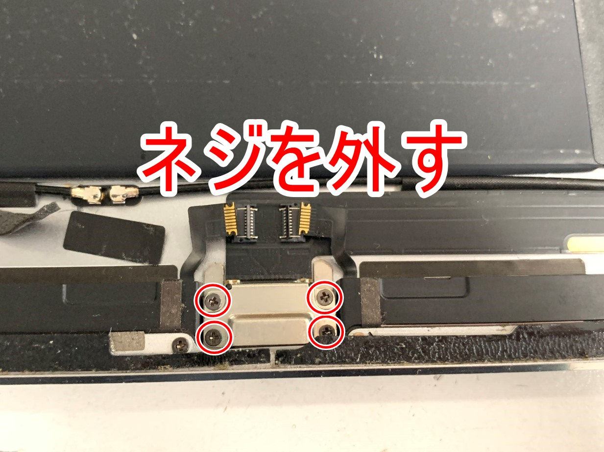 iPad Air2の充電口を固定したネジ