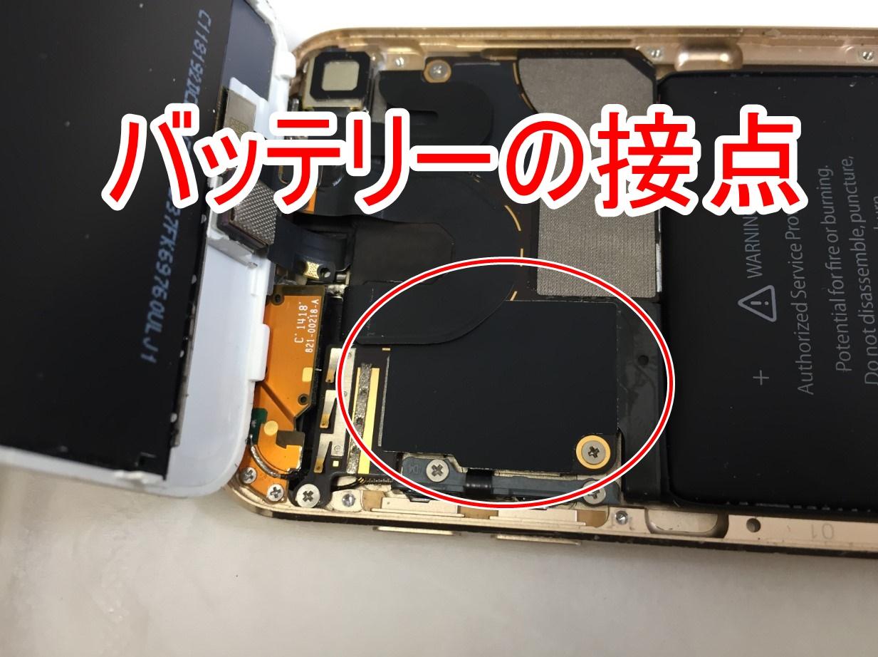 バッテリーの接点が隠れているiPod Touch 第6世代
