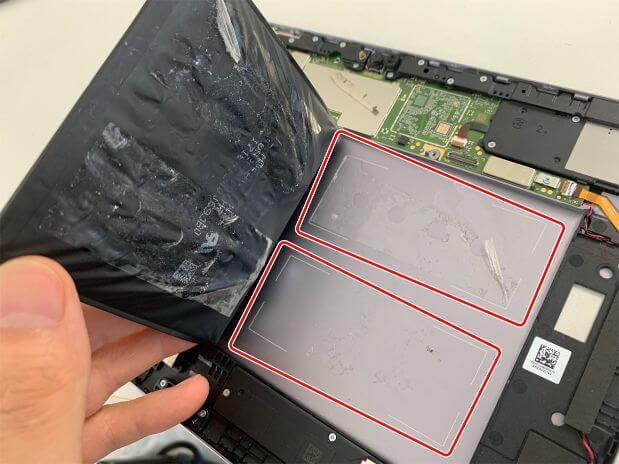 バッテリーの粘着を剥がしたMediaPad M5 lite 10.5